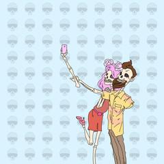 Skeleton Hipster Couple Taking Selfie