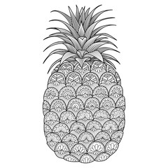 Pineapple line art design for coloring book for adult,t shirt design, logo, flyer and so on