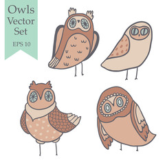 Hooo vector set. Cute owls, florals, mushrooms and hand lettering