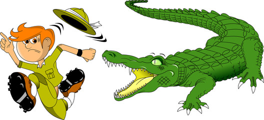 Crocodile and hunter
