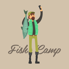 Fisher Making a Selfie with  Fish. Vector Illustration Set