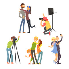Family Photo in Studio. Vector Illustration Set