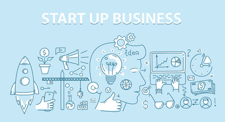 Line style design concept of start up business.