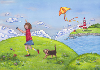 Summer landscape with a girl running on a hill, playing with a kite and her cute dog. Watercolor children's illustration.