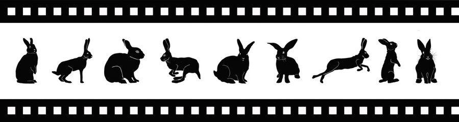 Rabbit silhouette on movie tape vector illustration. Eps 10