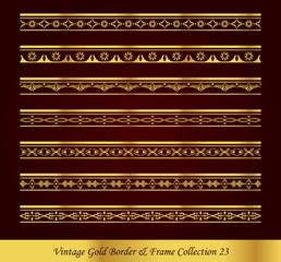 Vintage Gold Border Frame Vector Collection 23