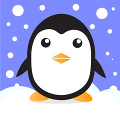 cute penguin in snow vector