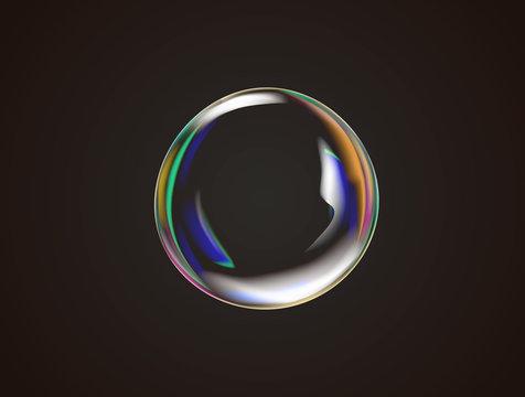 Transparent rainbow soap bubble vector.