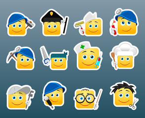 Professions smile stickers