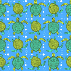 Sketch sea turtle pattern