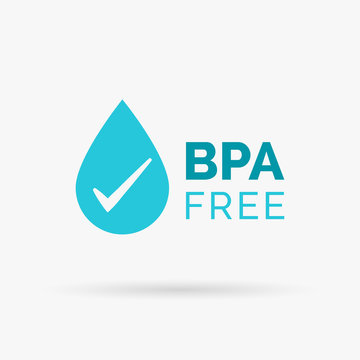 BPA free icon design. BPA free symbol design. BPA free design with water drop and tick sign. Vector illustration.