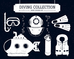 Hand drawn diving collection of elements on black background.