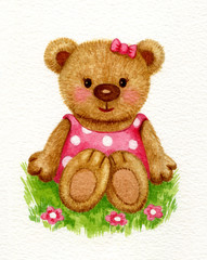 Cute baby bear girl sitting on grass, watercolor.