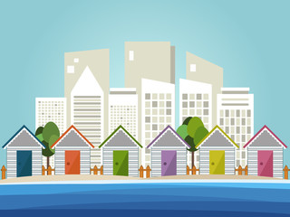 Colorful Beach Huts, Abstract Skylines Background