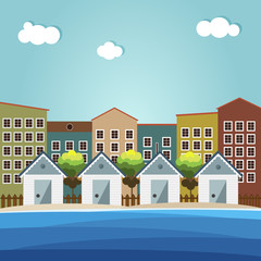 Colorful Beach Huts, City Background