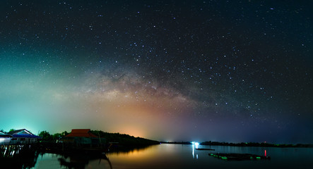 Milkyway over krabi river at night