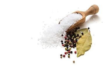 Sea salt, pepper and bay leaf