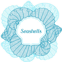 Marine background with stylized seashells. Design for cards, covers, brochures and advertising booklets