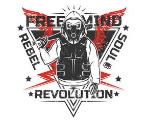 Set of rebel skull and revolution skeleton black and white print for t shirt