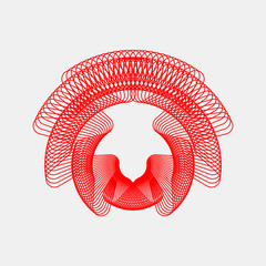 Red abstract fractal shape with light background for logo, design concepts, posters, banners, web, presentations and prints. Valentines day. Vector illustration.
