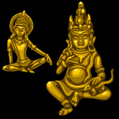 Two Golden figures of male and female deities