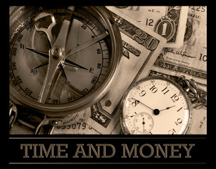 Time And Money. Old Pocket watch, compass.