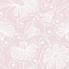 White seamless flower pattern on pink background