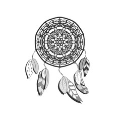 Hand drawn vector dreamcatcher. Monochrome vector illustrations isolated on white. Boho style design element