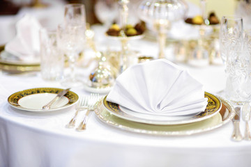 Beautiful table set for some festive event or wedding reception