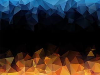 blue orange black abstract triangular background