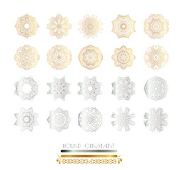 Golden,  silver mandala. Ornamental lace pattern for wedding invitations and greeting cards.Gold,  silver  mandala on black background .Traditional golden,  silver decor