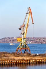 Port crane on the Volga River. Kineshma. Russia