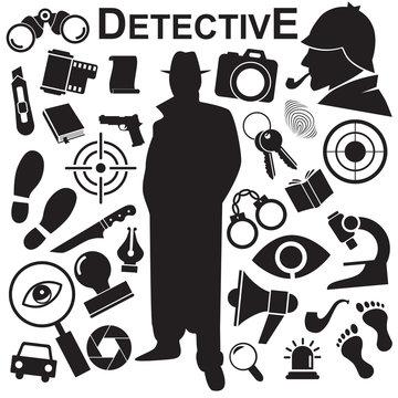 Detective vector icon set.