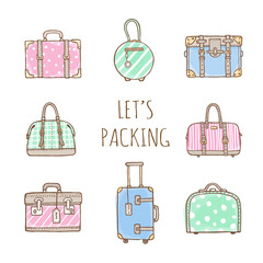 Vector hand drawn illustration  of vintage suitcases and bags with text Let's Packing. Retro pastel colors and doodles style