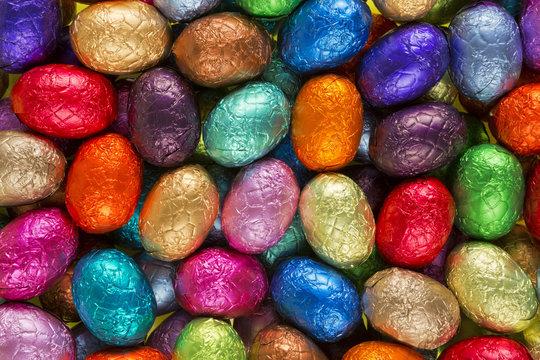Multi-coloured chocolate Easter eggs