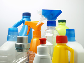 Cleaning products in plastic packaging