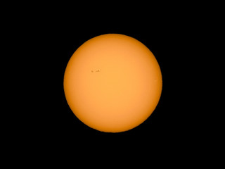 Sun with sunspots seen with telescope