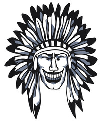 Smiling Apache. Native American Head. Indian.