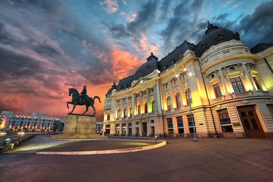 Bucharest Sunset. University Library by Night