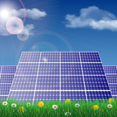 Solar panels in a field, ecology concept vector illustration.