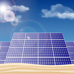 Solar panels in the desert, ecology concept vector illustration.