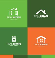 Real estate logo flat set icon design