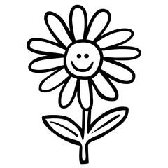 Handgezeichnete, lächelnde Blume / schwarz-weiß, Vektor, freigestellt