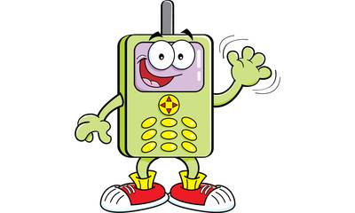 Cartoon illustration of a cell phone waving.