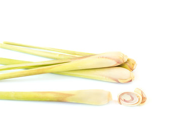 Fresh Lemon grass on white background