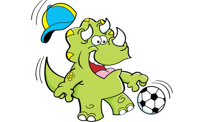 Papiers peints Pirates Cartoon illustration of a triceratops playing soccer.