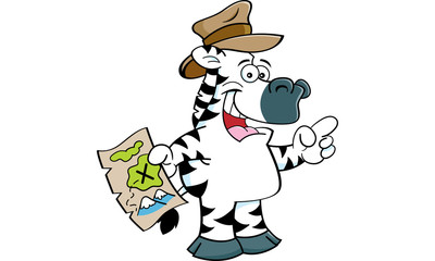 Cartoon illustration of a zebra holding a map and pointing.