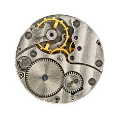 Clock mechanism with gears isolated on white background, close u