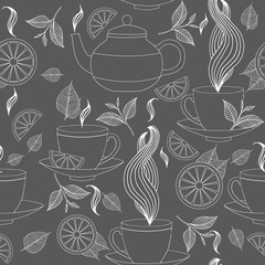 Tea time seamless pattern with hand drawn doodle elements. Monochrome Breakfast seamless  pattern with tea pots, tea leaves, lemon, tea cup and other.