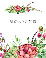 Beautiful watercolor wedding invitation with artichok,flowers,foliage,feather,raspberry.Handpainted illustration.Can be used as a greeting card for background of wedding,invitation or any other design